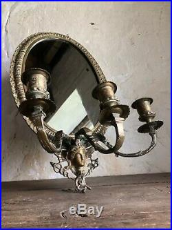 Pair Large Antique French Chateau Bronze Candle Wall Sconces. Hermes God. C1900
