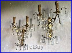 Pair Large Antique French Gilt Bronze & Crystal Chandelier Wall Lights Sconces