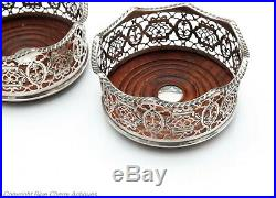 Pair Large Antique Silver Plated Pierced and Gadrooned Wine Bottle Coasters