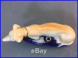 Pair Large Antique Staffordshire Greyhound Whippet Borzoi Dogs Figural Inkwells