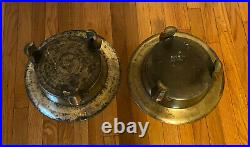Pair Large Antique Vintage Footed Brass Plant Stand Catch Plate Bowl Holder