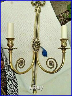 Pair Large Antique Vintage Solid Brass Twin / Double Wall Lights / Sconces