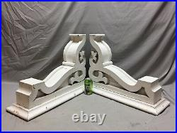 Pair Large Antique White Roof bracket Corbels Shabby Vintage Chic Old 21-19M