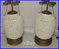Pair Large Chinese Antique Style Reticulated Blanc de Chine Ceramic Lamps