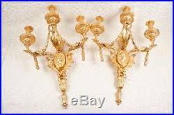 Pair Large French Regency Ormolu Sconces Wall Lights Appliques