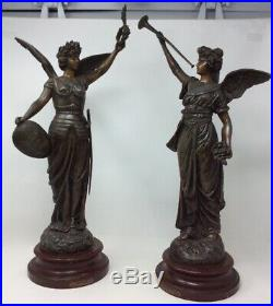 Pair Large French Spelter Statues by George Omerth 55 cms