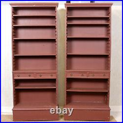 Pair Large Open Bookcases 2 Painted Library Bookshelves Antique Vintage Tall