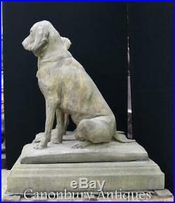 Pair Large Stone Guard Dogs Hounds English Garden Gatekeepers