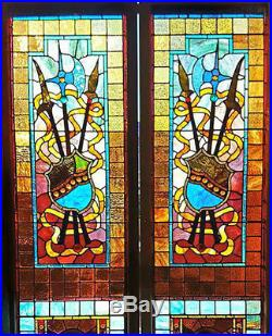 Pair Large Victorian Medieval Stained Glass Window Doors