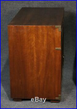 Pair Large Walnut Henredon Campaign Style Walnut Night Stands or commodes
