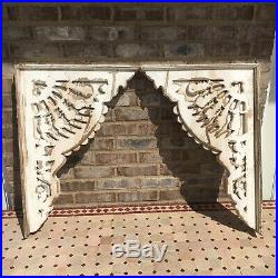 Pair Large White Wood Victorian Style Pediment Corbels Ornate Farmhouse Chic