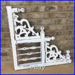 Pair Large White Wood Victorian Style Pediment Corbels Ornate Farmhouse Shic