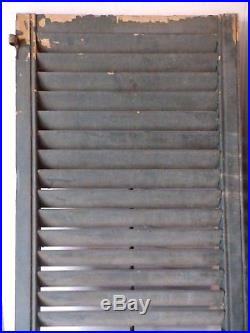 Pair Large Wide Antique Shutters Door Window Louvered Vintage Old 20x79 2307-16