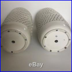 Pair Mid Century Reticulated Lamps Vases Large 20 Blanc De Chine Wai Ming HK