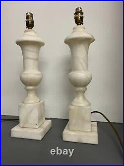 Pair Of Drench Antique Large Marble Alabaster Urn Vase Table Lamps