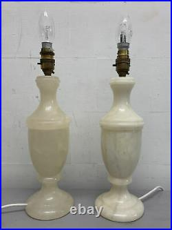 Pair Of French Antique Large Marble Alabaster Urn Vase Table Lamps
