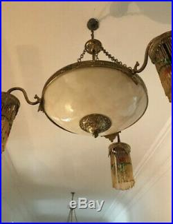 Pair Of French art deco alabaster ceiling light chandelier satellite arms