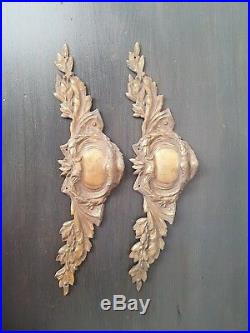 Pair Of Large Beautifully Cast Antique French Ormolu Cartouche Crests C1920