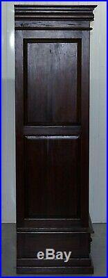 Pair Of Solid Panelled Mahogany Wardrobes Large Hanging Space With Drawers Shelf