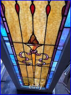 Pair Of Very Rare Old Architectural Torch Stained Glass Windows Shipping Ok
