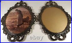 Pair Of Vintage Brass Metal Picture Frames Ornate Wall Hanging Large 17