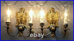 Pair Outstanding CALDWELL American Eagle Sconces, Mirror Image Casting, Restored
