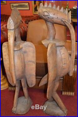 Pair Very Large (100 cm Tall) African Carved Wood Senufo Bird Statues, c1950