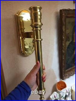 Pair Vintage Brass Sconces Lighting French Style 17 Long Large