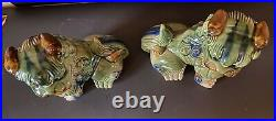 Pair Vintage Large Chinese Asian Ceramic Foo Dogs Fu Lions 8-1/2