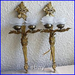 Pair Vintage Solid Brass Large Ornate Double Light Wall Sconce