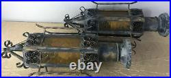 Pair Vintage Spanish Revival Gothic Iron Amber Glass Outdoor Post Lamp Light (E)