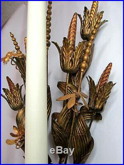 Pair of 48 VTG Italian Florentine Tole Gilt Wall Candle Sconces Candelabras
