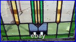 Pair of Antique Chicago Leaded Stained Glass Windows Large Size 45 by 22 1/2