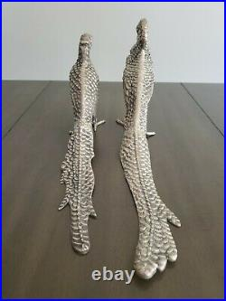 Pair of Antique Silver Plated Pheasants Birds Large