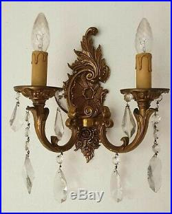Pair of Antique Vintage Crystal and Dore Brass Bronze Sconces