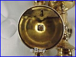 Pair of Antique Wall Sconces English Solid Brass withGlobes Beautiful Condition