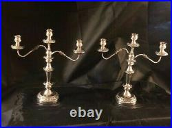 Pair of English silverplate large 3 part candelabras ornate baroque style 18in