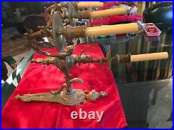 Pair of Gas Sconces Large 3 Light Ornate Brass Converted to Electric