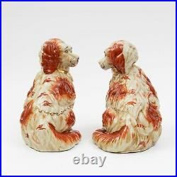 Pair of Large Antique Staffordshire Porcelain Spaniel Dogs 11.5 tall