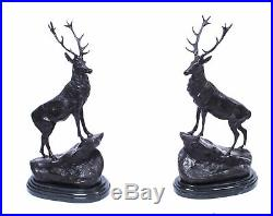 Pair of Large Bronze Stag Statuettes After Moigniez