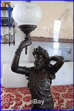 Pair of Large Bronze Statue of man and woman with Koi fish lamp/candle holder