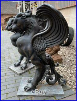 Pair of Large Bronze Winged Griffins Indoor / Outdoor / Table Bases