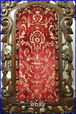 Pair of Large Ornate Antique Carved French Renaissance Hunt Chairs (c. 1880)