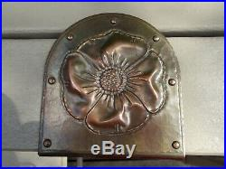 Pair of Large Roycroft Bookends with Poppy Flower Design
