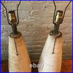 Pair of Large Studio Art Pottery Table Lamps by Lee Rosen