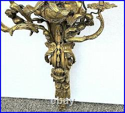 Pair of Large Vintage Gilt Bronze French Louis XV Rococo Electric Wall Sconces