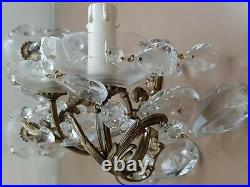 Pair of Vintage Crystal and Dore Brass Bronze Sconces applique Wall Lamp