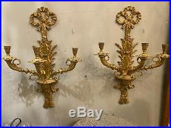 Pair of Vintage DORE BRONZE French CLASSICAL TASSLE BOW TWO Light WALL SCONCES