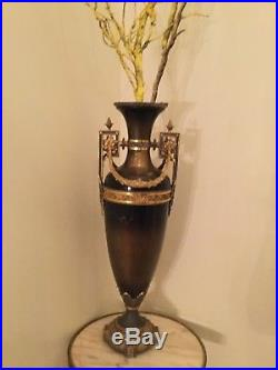 Pair of antique Empire style large patinated and gilt bronze vases