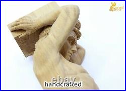 Pair of large wood corbels male statue Atlas from oak fireplace surround